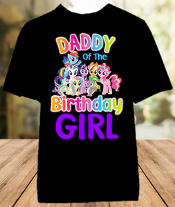 My Little Pony Birthday Party Personalized Dad Daddy Father Color T Shirt - All Sizes - MLPDCS1