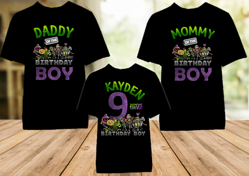 Plants vs Zombies Birthday Party Personalized Color T Shirt - 3 Pack - PVZC3P