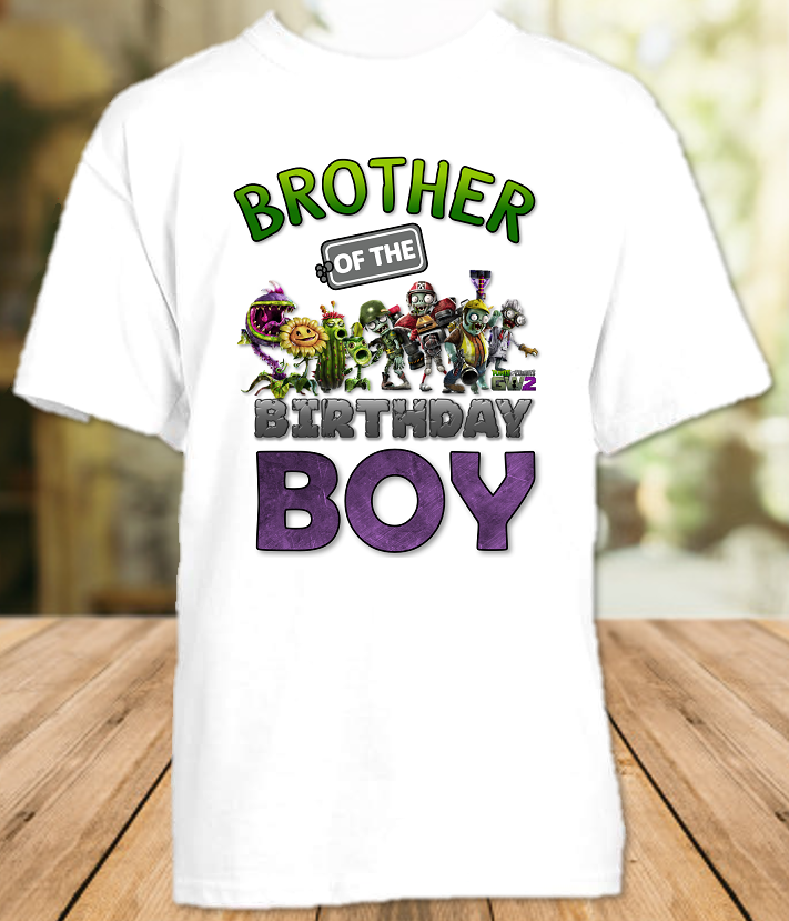 Plants vs Zombies Birthday Party Personalized Sibling Brother T Shirt or Onesie - All Sizes - PVZBS1
