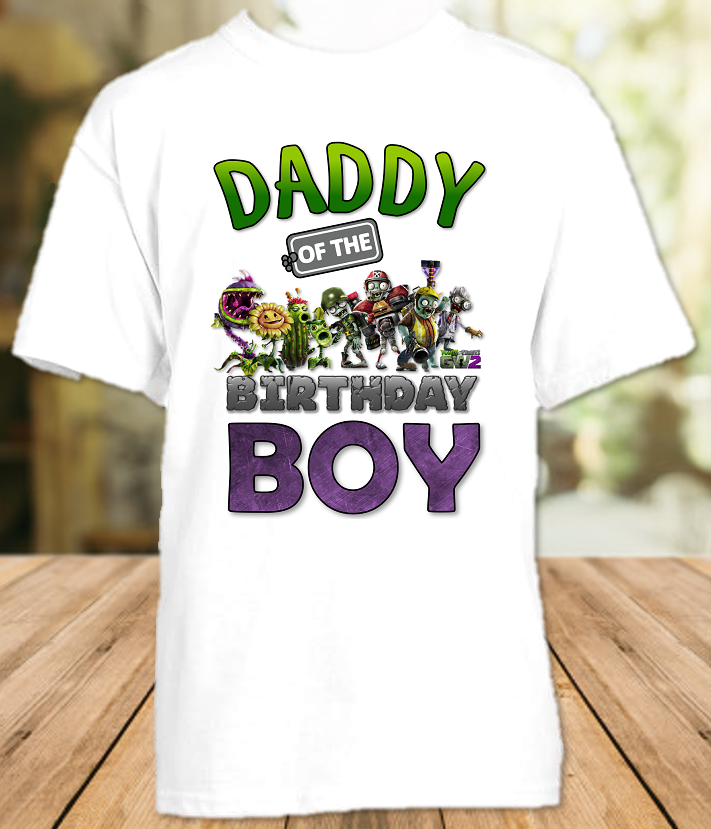 Plants vs Zombies Birthday Party Personalized Dad Daddy Father T Shirt - All Sizes - PVZDS1