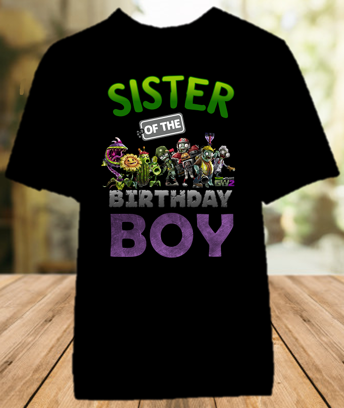 Plants vs Zombies Birthday Party Personalized Sibling Sister Color T Shirt - All Sizes - PVZSCS1