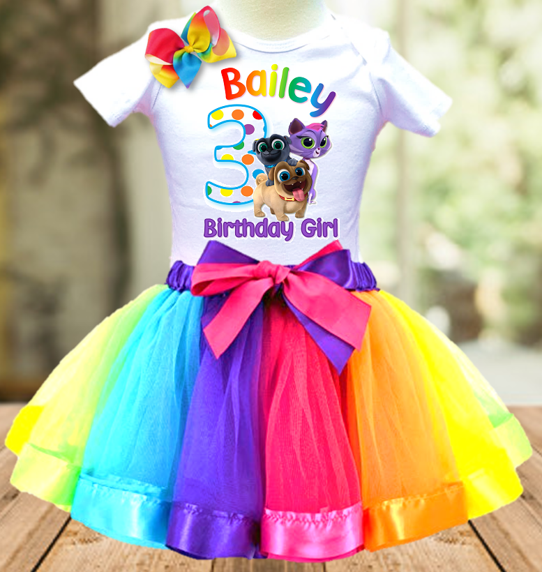 Puppy Dog Pals Birthday Party Personalized Ribbon Tutu Outfit - All Sizes - PDTO01
