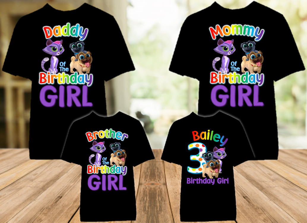 Puppy Dog Pals Birthday Party Personalized Color T Shirt - 4 Pack - PDPC4P