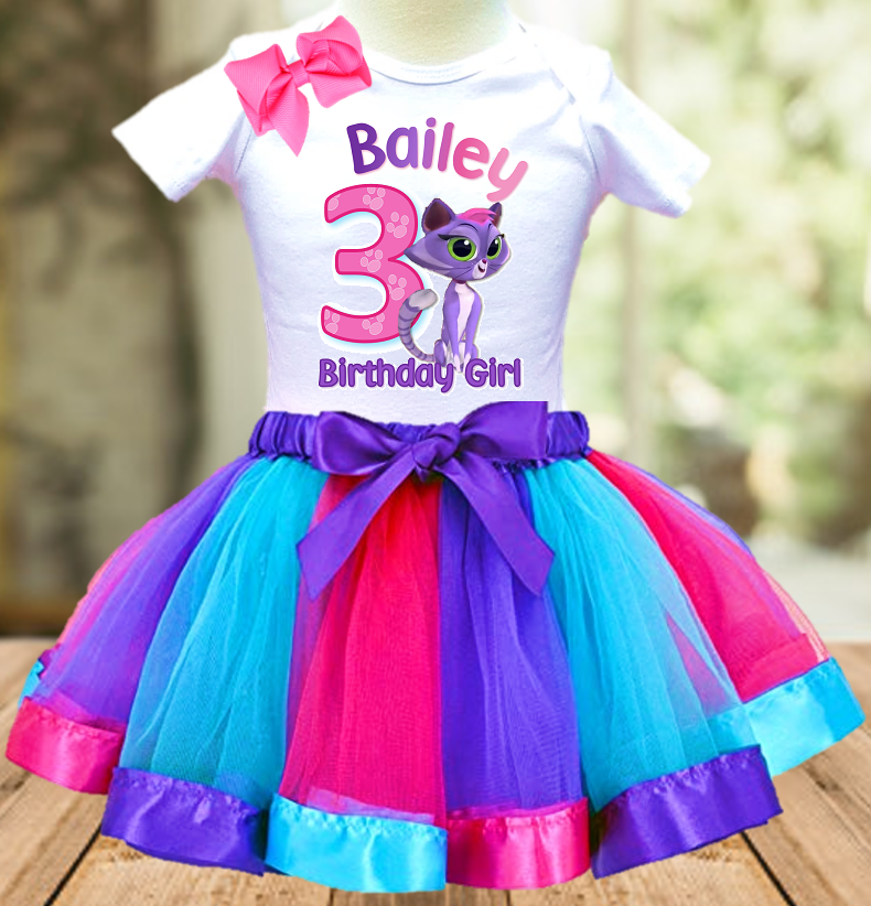 Puppy Dog Pals Hissy Cat Birthday Party Personalized Ribbon Tutu Outfit - All Sizes - PDHTO01
