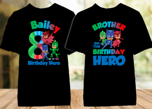 PJ Masks Birthday Party Personalized Color T Shirt - 2 Pack - PJC2P