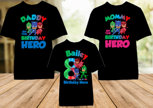 PJ Masks Birthday Party Personalized Color T Shirt - 3 Pack - PJC3P