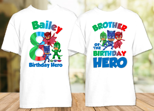 PJ Masks Birthday Party Personalized T Shirt or Onesie - 2 Pack - PJ2P