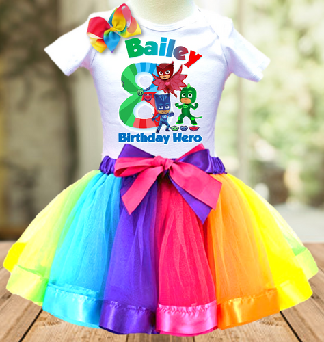 PJ mask Birthday Party Personalized Ribbon Tutu Outfit - All Sizes - PJTO02
