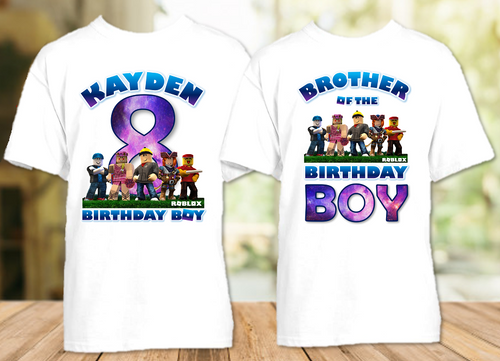 Roblox Birthday Party Personalized T Shirt or Onesie - 2 Pack - RB2P