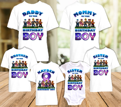 Roblox Birthday Party Personalized T Shirt or Onesie - 6 Pack - RB6P