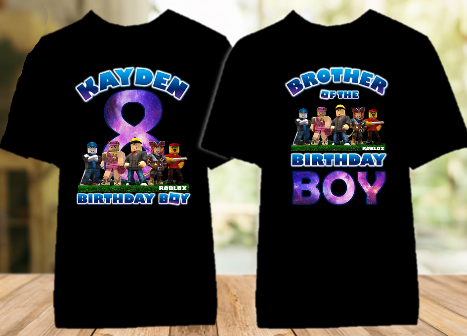 Roblox Birthday Party Personalized Color T Shirt - 2 Pack - RBC2P