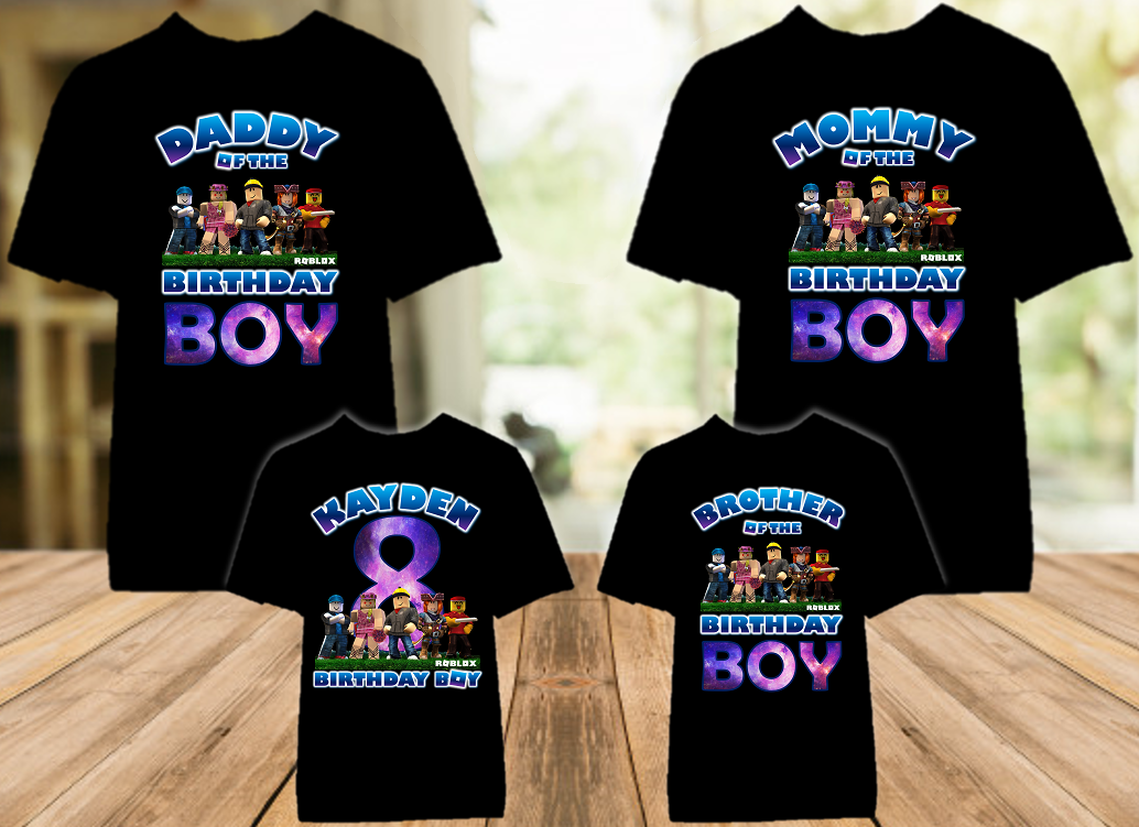 Roblox Birthday Party Personalized Color T Shirt - 4 Pack - RBC4P