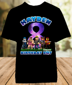 Roblox Birthday Party Personalized Color T Shirt - All Sizes - RBCS1