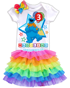 Sesame Street Cookie Monster Birthday Party Personalized Rainbow Tutu Outfit - All Sizes - SSCRUFFLETO01