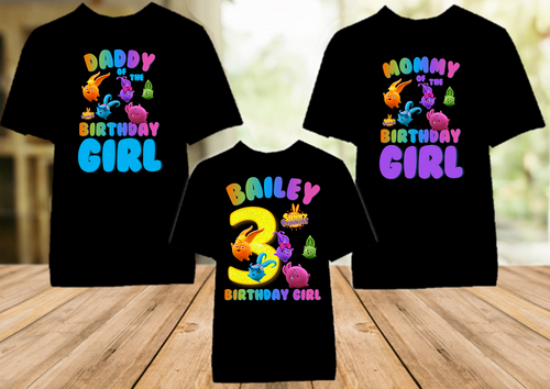 Sunny Bunnies Birthday Party Personalized Color T Shirt - 3 Pack - SUNC3P