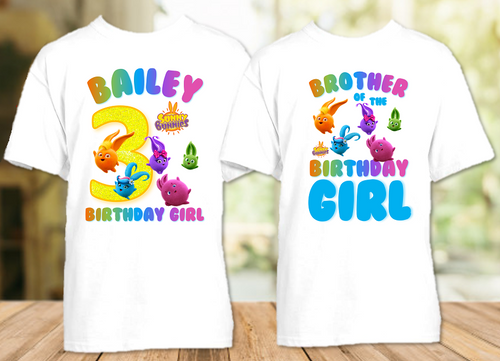 Sunny Bunnies Birthday Party Personalized T Shirt or Onesie - 2 Pack - SUN2P