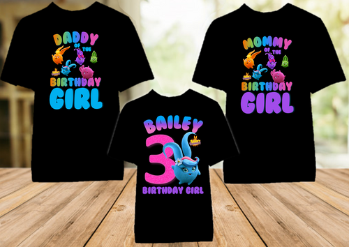 Sunny Bunnies Shiny Birthday Party Personalized Color T Shirt - 3 Pack - SUNSC3P