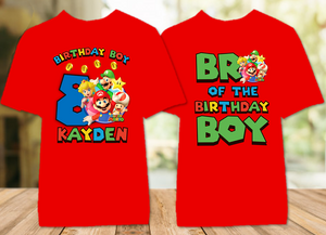 Super Mario Bros Birthday Party Personalized Color T Shirt - 2 Pack - SMBC2P