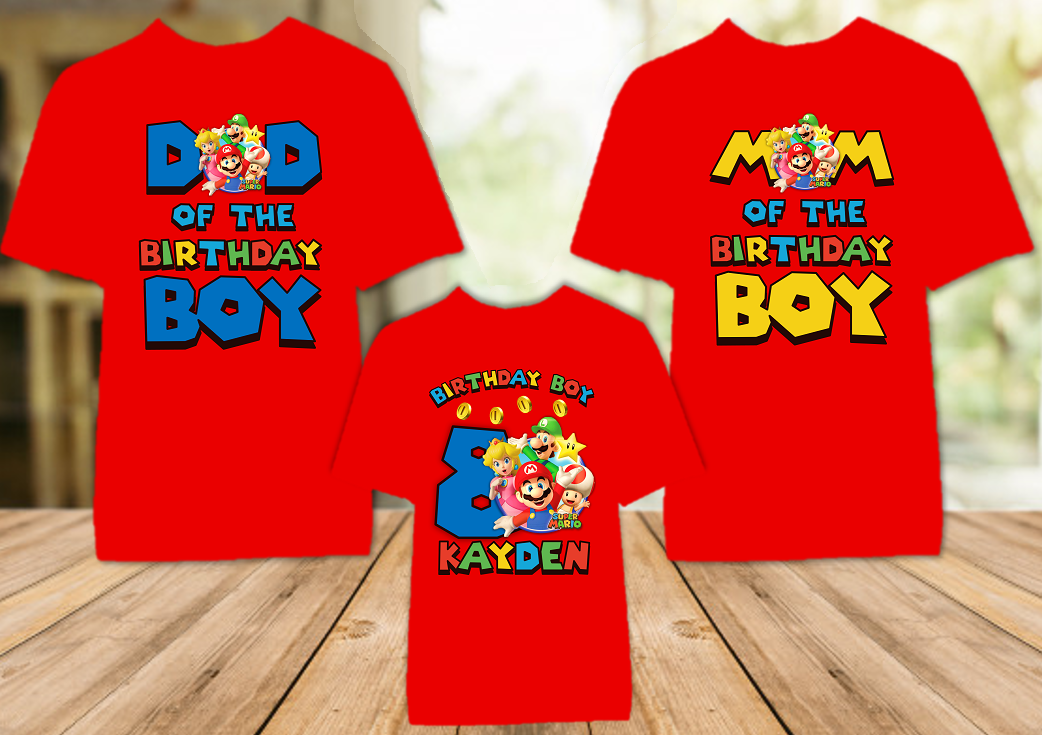 Super Mario Bros Birthday Party Personalized Color T Shirt - 3 Pack - SMBC3P
