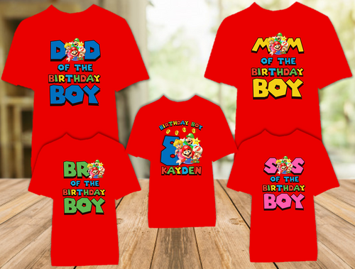 Super Mario Bros Birthday Party Personalized Color T Shirt - 5 Pack - SMBC5P