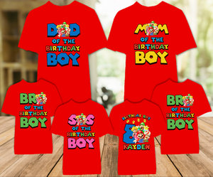 Super Mario Bros Birthday Party Personalized Color T Shirt - 6 Pack - SMBC6P