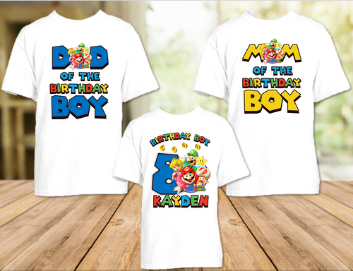 Super Mario Bros Birthday Party Personalized T Shirt or Onesie - 3 Pack - SMB3P