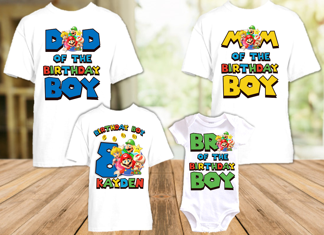 Super Mario Bros Birthday Party Personalized T Shirt or Onesie - 4 Pack - SMB4P