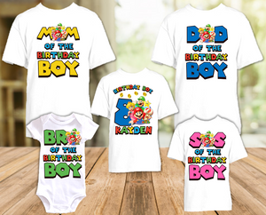Super Mario Bros Birthday Party Personalized T Shirt or Onesie - 5 Pack - SMB5P