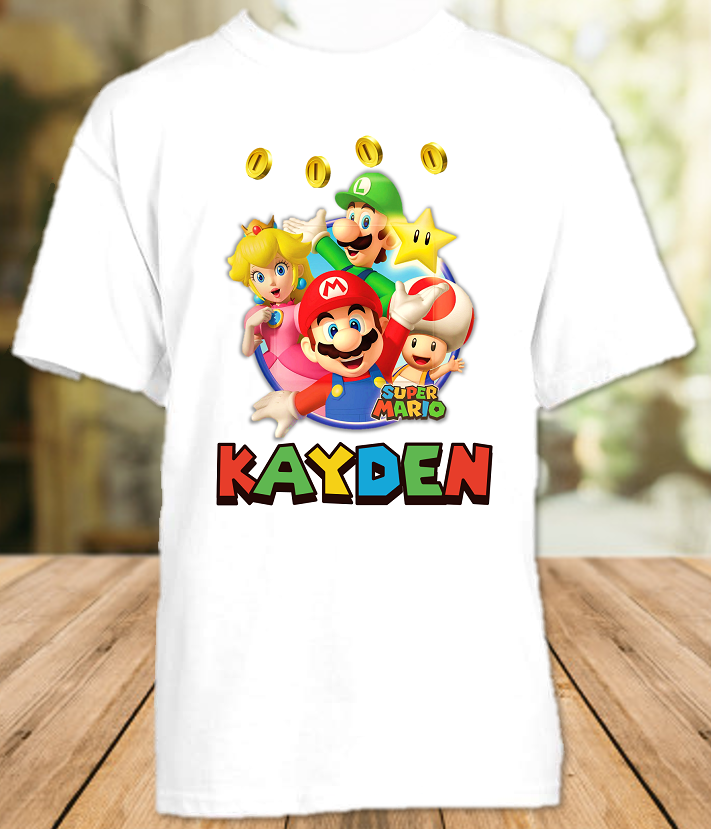 Super Mario Bros Party Personalized T Shirt or Onesie - All Sizes - SMBPS1