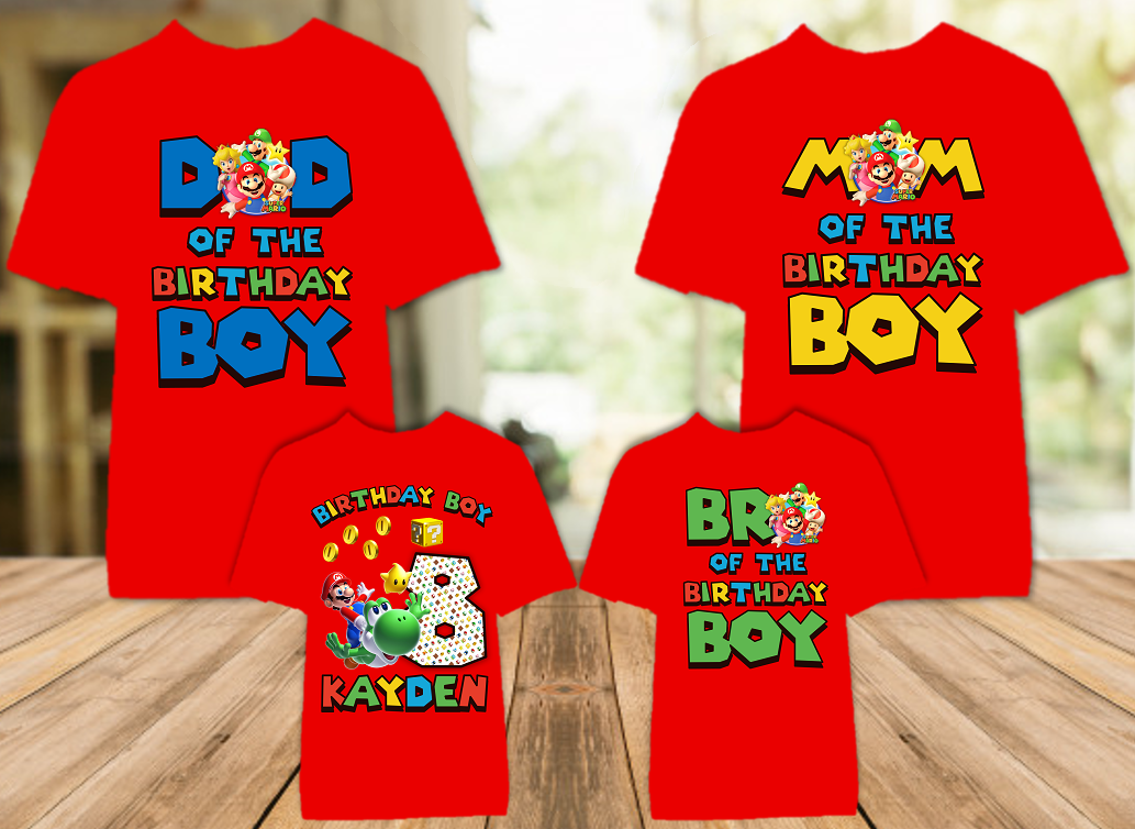 Super Mario Galaxy Birthday Party Personalized Color T Shirt - 4 Pack - SMGC4P