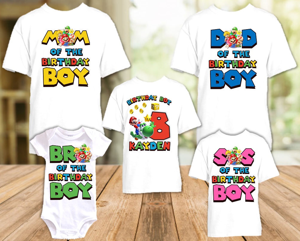 Super Mario Galaxy Birthday Party Personalized T Shirt or Onesie - 5 Pack - SMG5P