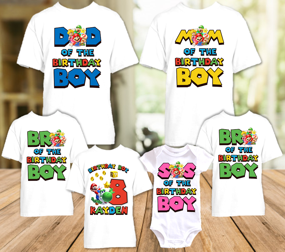 Super Mario Galaxy Birthday Party Personalized T Shirt or Onesie - 6 Pack - SMG6P