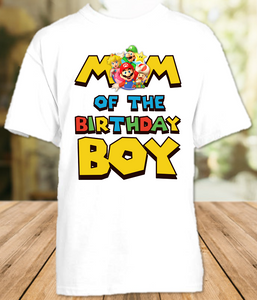 Super Mario Bros Birthday Party Personalized Mom Mommy Mother T Shirt - All Sizes - SMBMS1