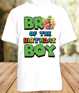 Super Mario Bros Birthday Party Personalized Brother T Shirt or Onesie - All Sizes - SMBBS1
