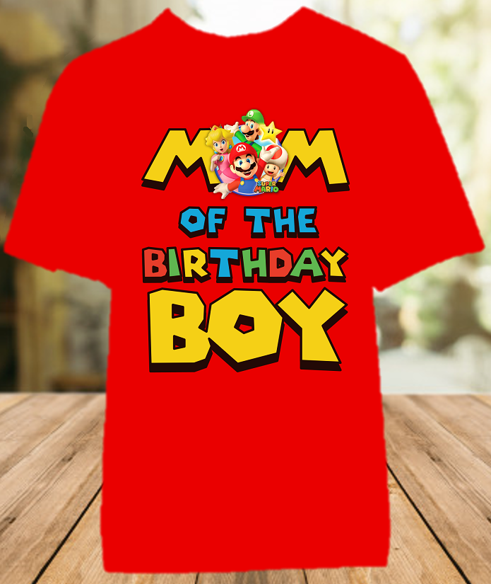 Super Mario Bros Birthday Party Personalized Mom Mommy Mother Color T Shirt - All Sizes - SMBMCS1