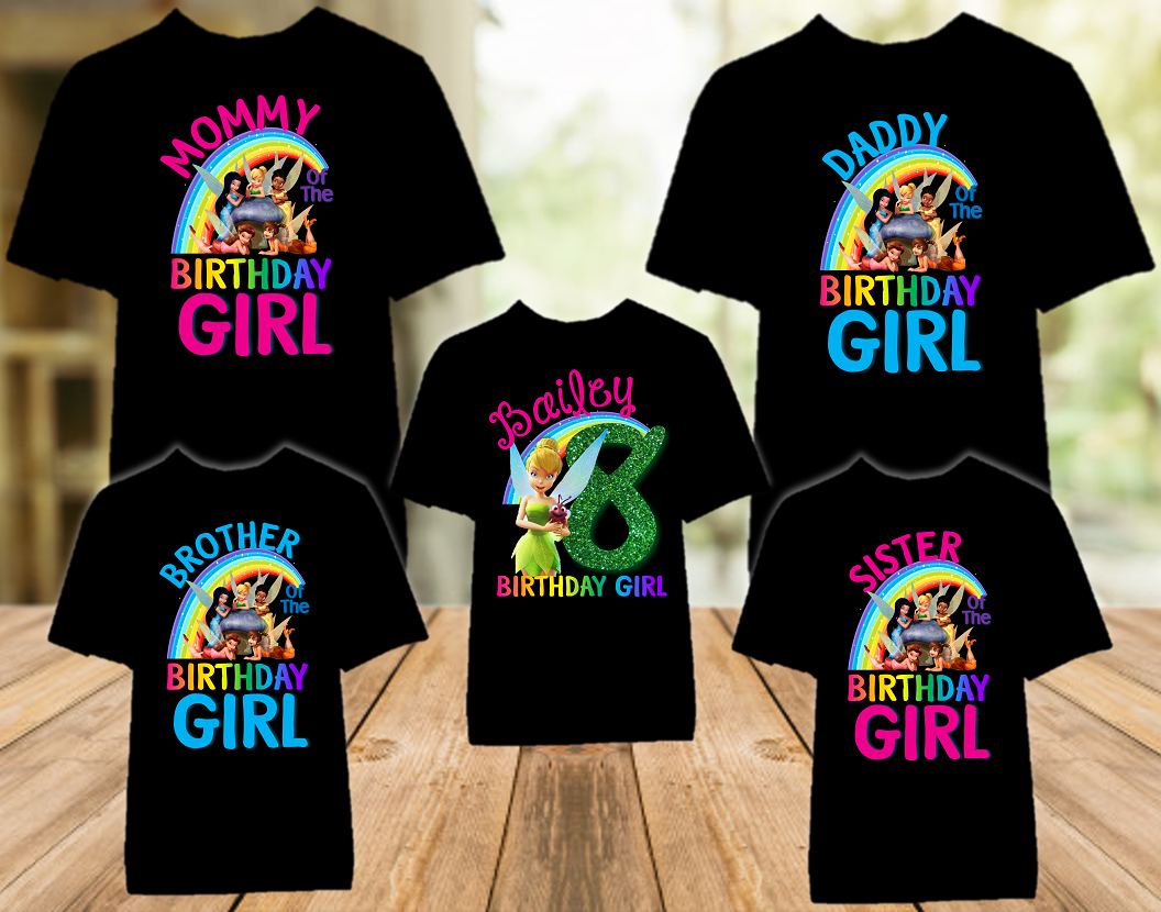 Tinkerbell Fairy Birthday Party Personalized Color T Shirt - 5 Pack - TBC5P