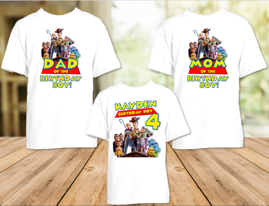 Toy Story 4 Birthday Party Personalized T Shirt or Onesie - 3 Pack - TS3P