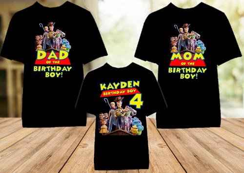 Toy Story 4 Birthday Party Personalized Color T Shirt - 3 Pack - TSC3P