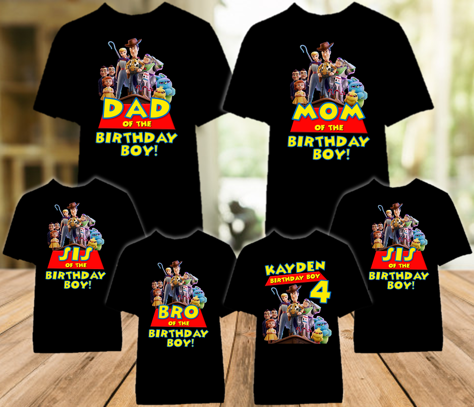 Toy Story 4 Birthday Party Personalized Color T Shirt - 6 Pack - TSC6P