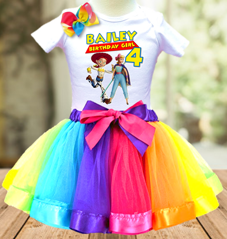 Toy Story 4 Bo Peep and Jessie Birthday Party Personalized Ribbon Tutu Outfit - All Sizes - TSTO01