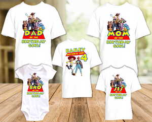 Toy Story 4 Jessie Cowgirl Birthday Party Personalized T Shirt or Onesie - 5 Pack - TSJ5P