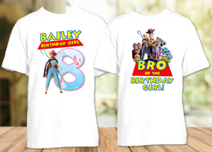 Toy Story 4 Bo Peep Birthday Party Personalized T Shirt or Onesie - 2 Pack - TSBP2P