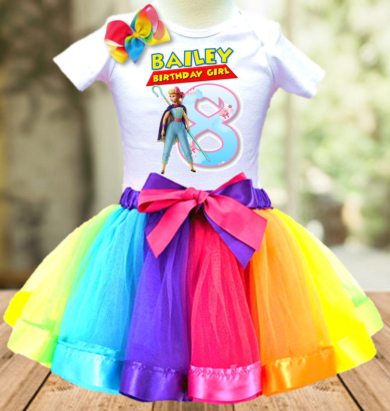 Toy Story 4 Bo Peep Birthday Party Personalized Ribbon Tutu Outfit - All Sizes - TSTO02