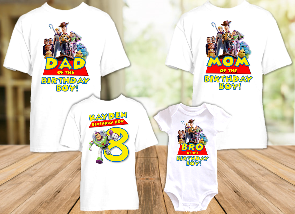 Toy Story 4 Buzz Lightyear Birthday Party Personalized T Shirt or Onesie - 4 Pack - TSBL4P