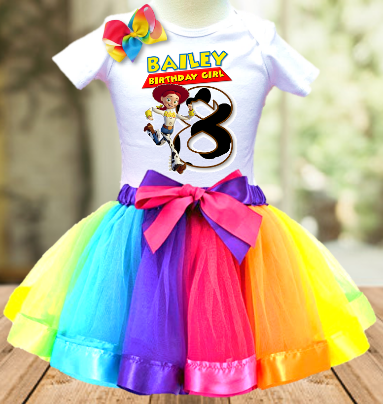 Toy Story 4 Jessie Cowgirl Birthday Party Personalized Ribbon Tutu Outfit - All Sizes - TSTO03