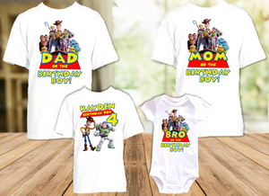 Toy Story 4 Buzz Lightyear Woody Birthday Party Personalized T Shirt or Onesie - 4 Pack - TSBLW4P