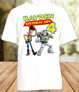 Toy Story 4 Buzz Lightyear Woody Birthday Party Personalized T Shirt or Onesie - All Sizes - TSBLWS1