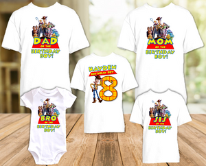 Toy Story 4 Woody Cowboy Birthday Party Personalized T Shirt or Onesie - 5 Pack - TSW5P