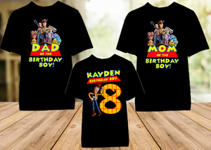 Toy Story 4 Woody Cowboy Birthday Party Personalized Color T Shirt - 3 Pack - TSWC3P