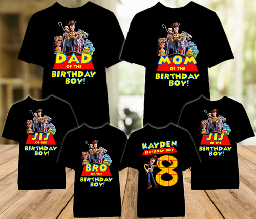 Toy Story 4 Woody Cowboy Birthday Party Personalized Color T Shirt - 6 Pack - TSWC6P